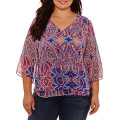 Boutique + 3/4 Sleeve V Neck Woven Paisley Blouse-Plus