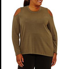 Xersion Long Sleeve Crew Neck Knit Blouse-Plus