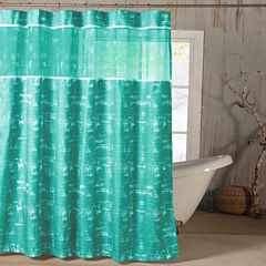 Kensie Ella Satin Look Microfer Shower Curtain With Sheer Border