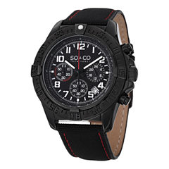 SO & CO Ny Men'S Yacht Club Black Leather Sport Quartz Watch J151P54
