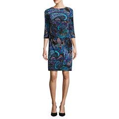 Ronni Nicole 3/4 Sleeve Paisley Sheath Dress-Petites