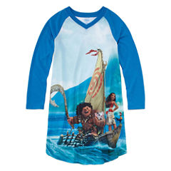 Disney Long Sleeve Moana Nightshirt-Big Kid Girls