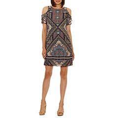 R & K Originals Short Sleeve Pattern Shift Dress-Petites