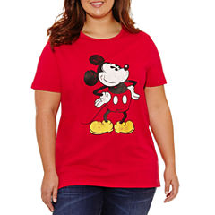 Short Sleeve Crew Neck Mickey Mouse Graphic T-Shirt