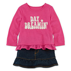 Arizona Long-Sleeve Graphic Top or First Denim Skort - Baby Girls 3m-24m