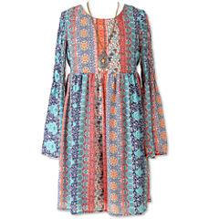 Speechless Long Sleeve Bell Sleeve Peasant Dress - Big Kid Girls Plus