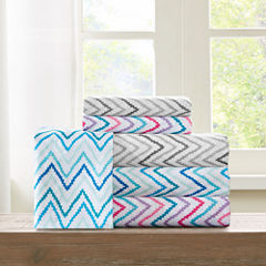 Intelligent Design Multicolor Chevron Microfiber Sheet Set
