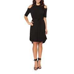 T.D.C Cold Shoulder Rib Knit Sheath Dress