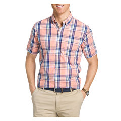 IZOD Saltwater Short Sleeve Poplin Button-Front Shirt