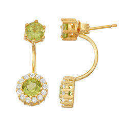 Genuine Peridot & Lab-Created White Sapphire 14K Gold Over Silver Front-Back Earrings