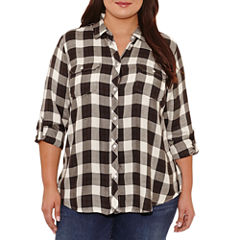 Boutique + Long Sleeve Plaid Button-Front Shirt-Plus