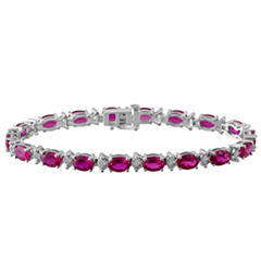 Womens 7 1/2 Inch Red Ruby Sterling Silver Chain Bracelet