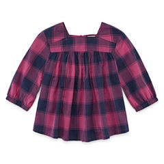 Arizona Square Neck Long Sleeve Puffed Sleeve Blouse - Toddler Girls