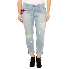 Almost Famous Rose Embroidered Skinny Jeans-Juniors Plus