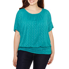 Alyx Short Sleeve Scoop Neck Knit Blouse-Plus