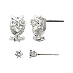 Sparkle Allure™ Crystal Silver-Plated Owl and Stud Earring Set