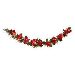 North Pole Trading Co. 6ft Poinsetta Pre-Lit Led Christmas Garland
