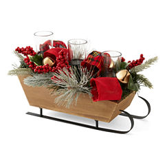 North Pole Trading Co. Winter Lodge Floral Sled Tealight Holder