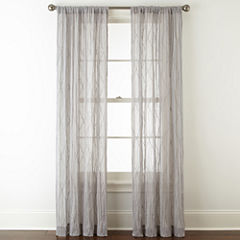 Linden Street Farmhouse Rod-Pocket Sheer Curtain Panel