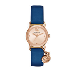 Arizona Womens Rose Gold Tone Feather Charm Navy Strap Watch