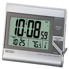 Seiko® Global Radio Wave Travel Alarm With Calendar And Thermometer QHR024SLH