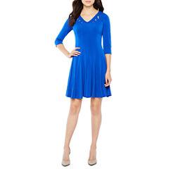 Rabbit Design 3/4 Sleeve Fit & Flare Dress