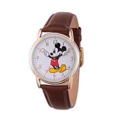 Disney Womens Brown And Rose Gold Tone Vintage Mickey Strap Watch W002756