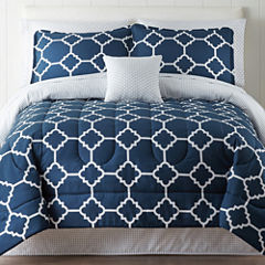 Home Expressions Tiles Navy Complete Bedding Set with Sheets