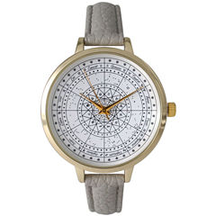 Olivia Pratt Womens Gray And Gold Tone Leather Strap Watch 14644