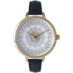 Olivia Pratt Womens Navy And Gold Tone Leather Strap Watch 14644
