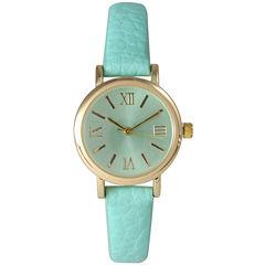 Olivia Pratt Womens Mint Gold Tone Leather Strap Watch 14710