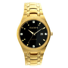 Elgin® Mens Gold Tone Diamond Dial Bracelet Watch Fg8021Gt