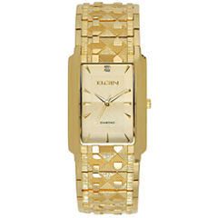 Elgin® Mens Gold Tone Nugget Bracelet Watch Fg286Nb