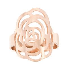 Rose IP Stainless Steel Flower Ring