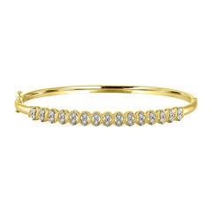 Womens 1/10 CT. T.W. White Diamond 14K Gold Over Silver Bangle Bracelet
