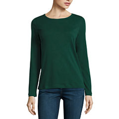 St. John's Bay Long Sleeve Crew Neck T-Shirt-Womens