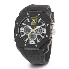 Wrist Armor® C28 Mens US Army Black Silicone Chronograph Watch