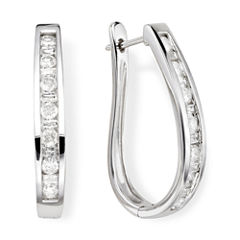 1 CT. T.W. Diamond 10K White Gold Hoop Earrings