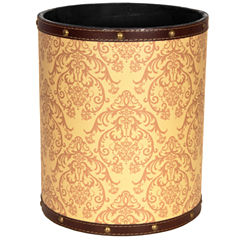 Oriental Furniture Yellow Damask Waste Basket
