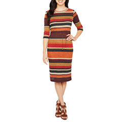 Emma And Michele Elbow Sleeve Stripe Fit & Flare Dress