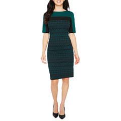 Liz Claiborne Elbow Sleeve Jacquard Sheath Dress