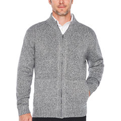 Claiborne Full Zip Chunky Mock Neck Long Sleeve Cardigan