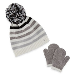 Toddler Striped Hat & Mitten Set