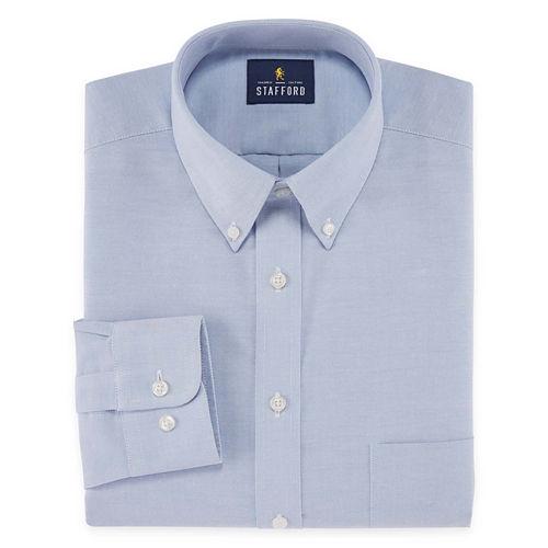 Stafford Travel Wrinkle-Free Stretch Oxford Long-Sleeve Dress Shirt - Big and Tall