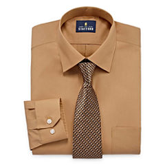 Stafford Travel Easy-Care - Big and Tall Long Sleeve Shirt and Tie Set