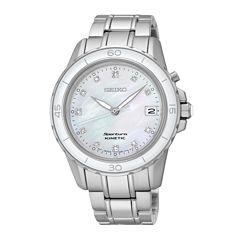 Seiko® Sportura Womens Diamond-Accent Kinetic Bracelet Sport Watch SKA881