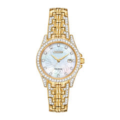 Citizen® Eco-Drive® Silhouette Womens Crystal-Accent Gold-Tone Stainless Steel Bracelet Watch EW1222-84D