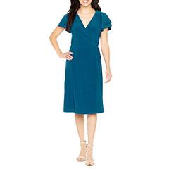 Emma And Michele Short Sleeve Wrap Dress