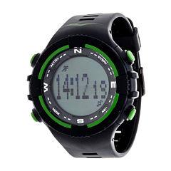 Everlast Black and Green Pedometer Watch