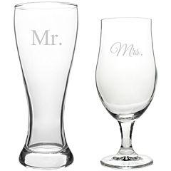 Cathy's Concepts Mr. & Mrs. Set of 2 Pilsner Glasses
